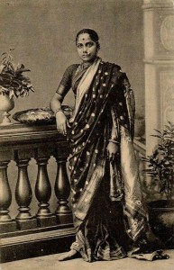 A Nineteenth Century Marathi woman in a traditional sari.  Photo public domain.