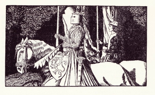 """Everyone likes a good knight's tale...""  Howard Pyle's illustration of Sir Gawain in his book King Arthur.  1903"