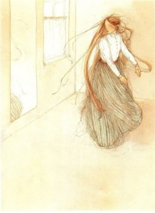Della contemplates losing her long hair.  The Gift of the Magi, by O. Henry.  Illustrated By Lispeth Zwerger.