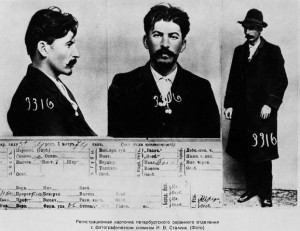 Joe the Georgian.  Not always on top, Joseph Stalin as a anti-czarist revolutionary.  Mugshot from 1911.  He was known as a killer even then.  Photo public domain.