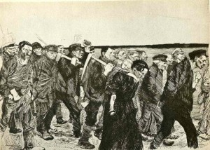 Artwork by Kathe Kollwitz in 1897, showing the 1844 rebellion as a group of weavers heads to the owner's property, bent on destruction.