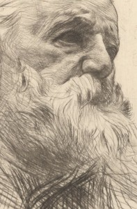 Victor Hugo, sketched by Auguste Rodin, 1840 - 1917.  A rebel himself, Rodin was known as the father of modern sculpture.